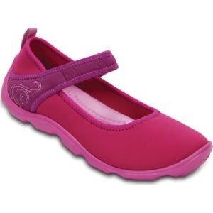 Crocs Pink/Purple Fabric Busy Day Mary Jane Flats